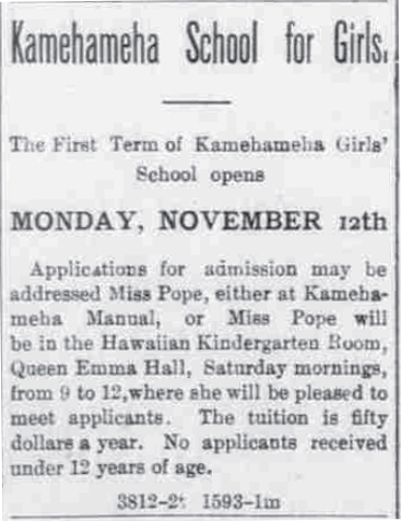 Kamehameha School for Girls.