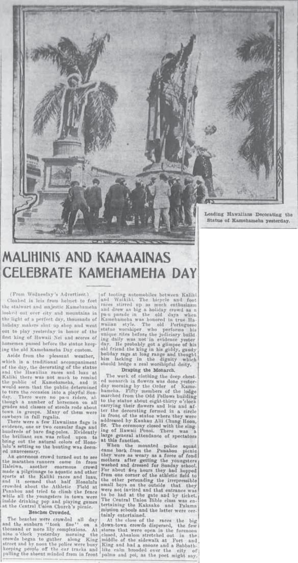 MALIHINIS AND KAMAAINAS CELEBRATE KAMEHAMEHA DAY