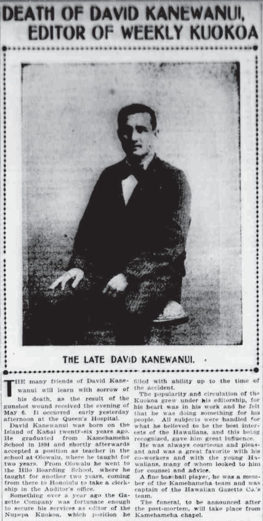 DEATH OF DAVID KANEWANUI, EDITOR OF WEEKLY KUOKOA