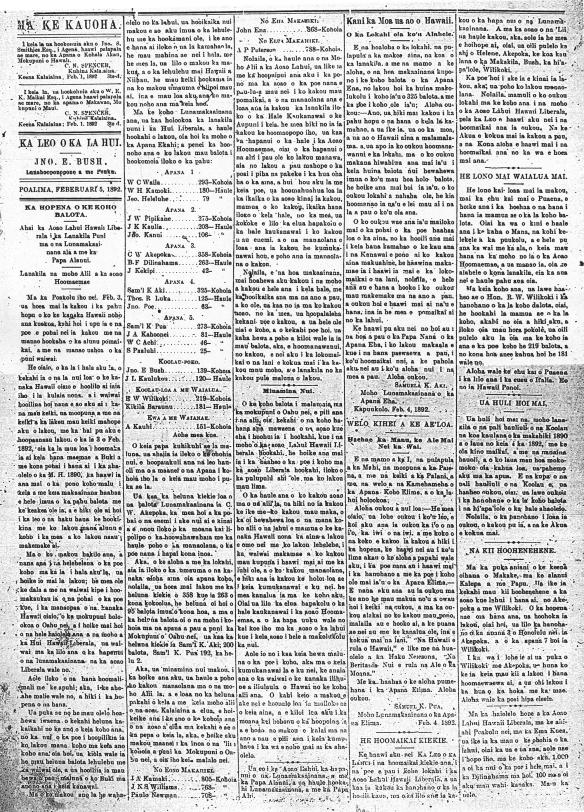 Leo o ka Lahui, 2/5/1892, p. 2