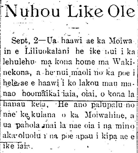 Sept, 2—Ua haawi ae ka Moiwahin e...