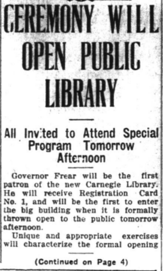 CEREMONY WILL OPEN PUBLIC LIBRARY