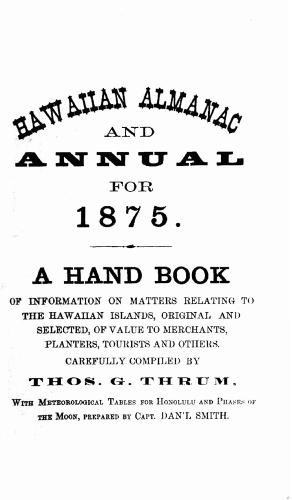 HAWAIIAN ALMANAC AND ANNUAL FOR 1875.