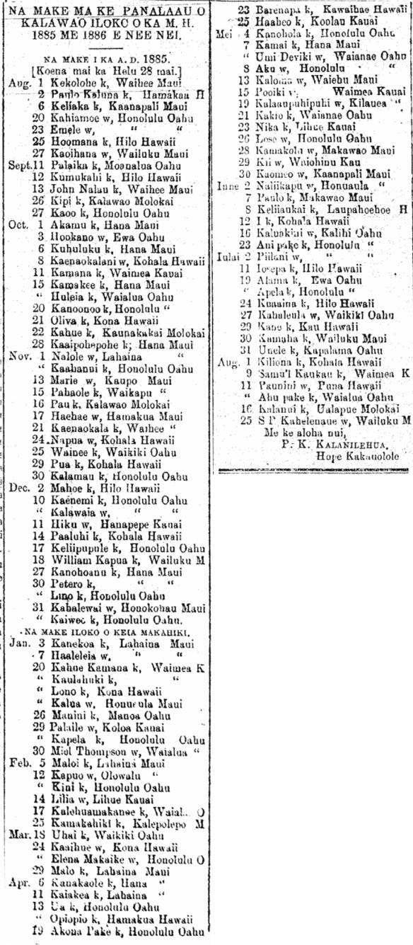 NA MAKE MA KE PANALAAU O KALAWAO ILOKO O KA M. H. 1885 ME 1886 E NEE NEI.
