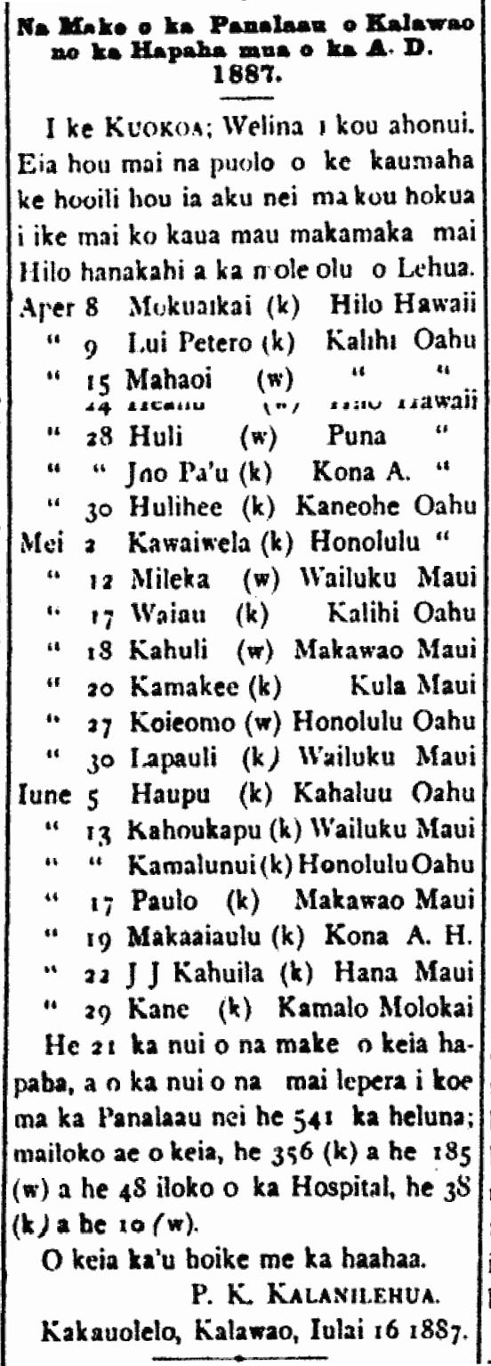 Na Make o ka Panalaau o Kalawao no ka Hapaha mua o ka A. D. 1887.