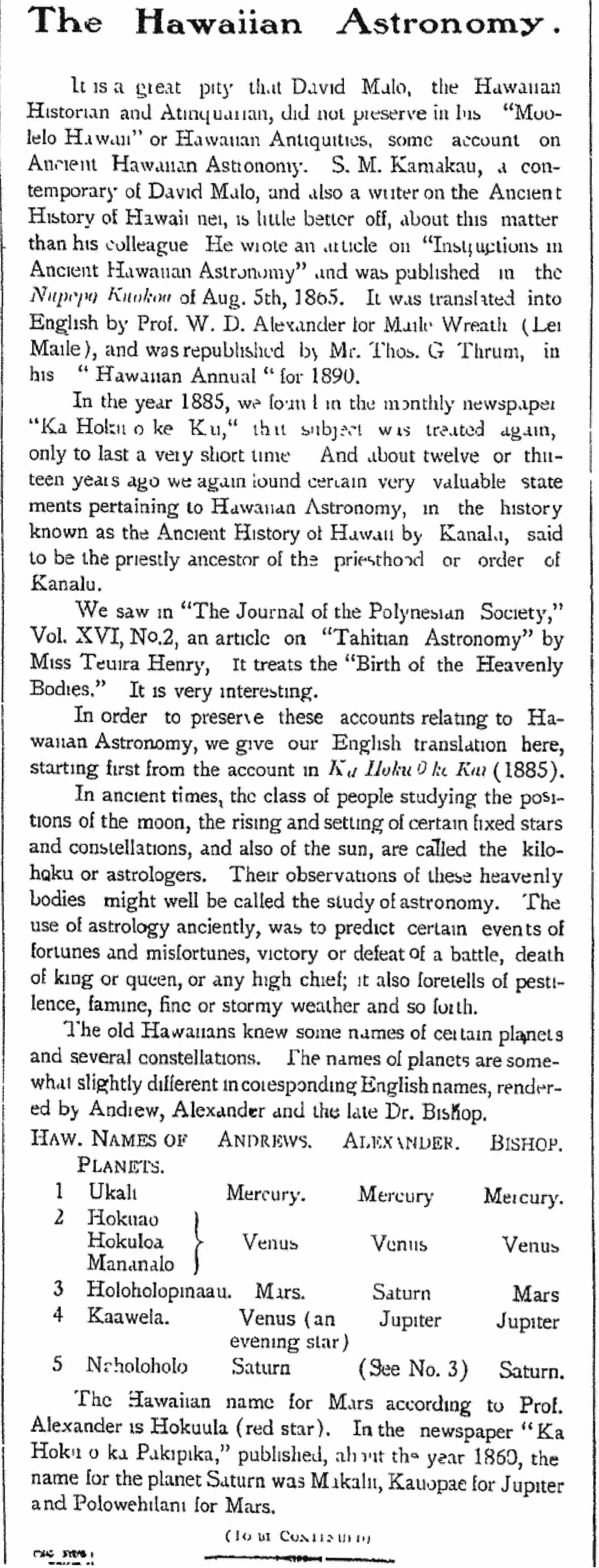 The Hawaiian Astronomy.