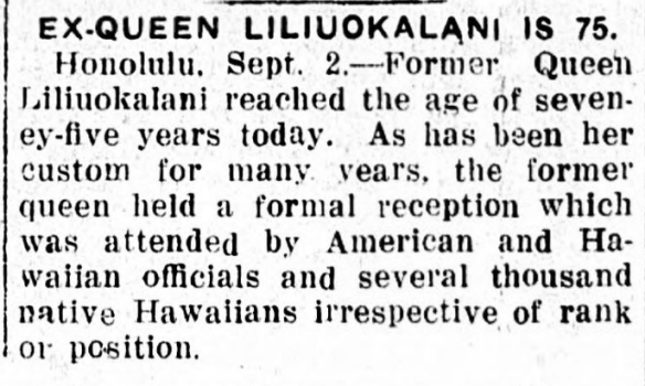 EX-QUEEN LILIUOKALANI IS 75.