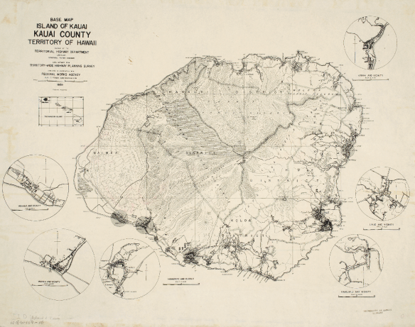 BASE MAP ISLAND OF KAUAI, KAUAI COUNTY, TERRITORY OF HAWAII