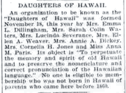 DAUGHTERS OF HAWAII.