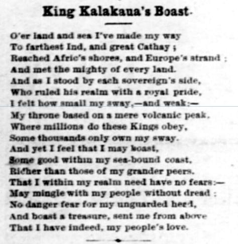 King Kalakaua's Boast.