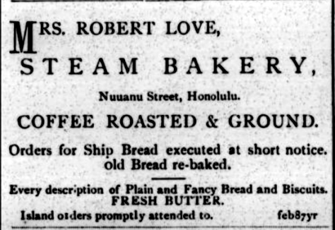 MRS. ROBERT LOVE, STEAM BAKERY