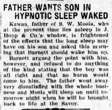 FATHER WANTS SON IN HYPNOTIC SLEEP WAKED