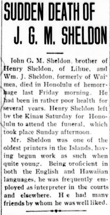 SUDDEN DEATH OF J. G. M. SHELDON