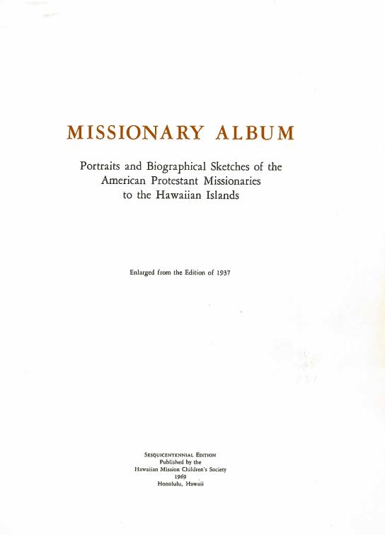 Missionary Album, 1969.