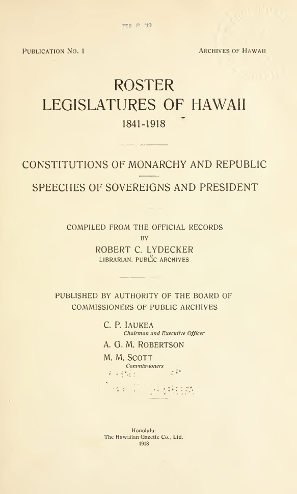 ROSTER LEGISLATURE OF HAWAII 1841–1914