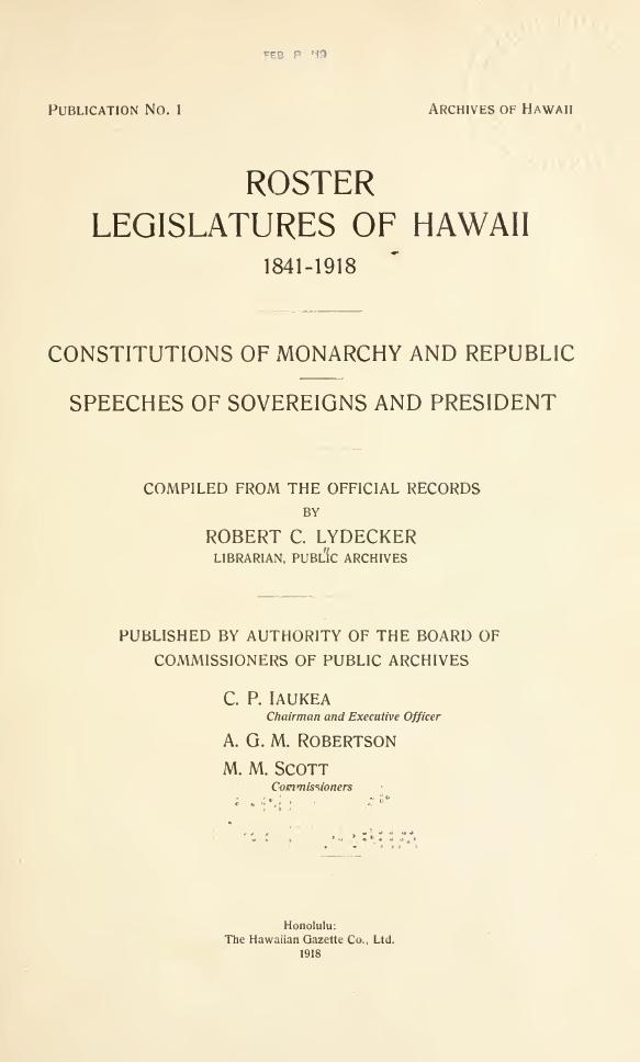 ROSTER LEGISLATURE OF HAWAII 1841–1914