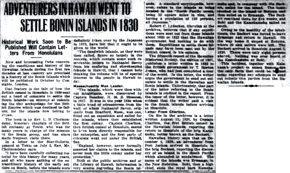 ADVENTURERS IN HAWAII WENT TO SETTLE BONIN ISLANDS IN 1830