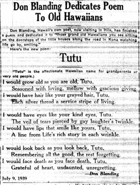 Don Blanding Dedicates Poem To Old Hawaiians