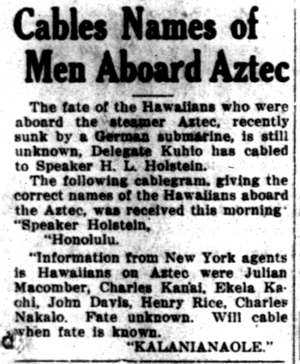 Cables Names of Men Aboard Aztec