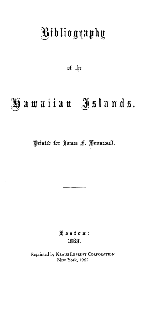 Bibliography of the Hawaiian Islands