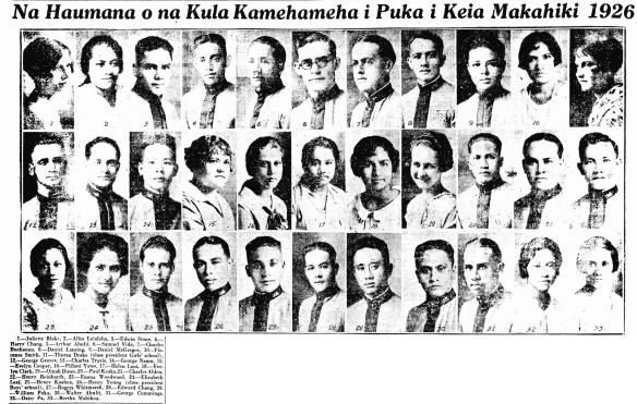 Na Haumana o na Kula Kamehameha i Puka i Keia Makahiki 1926