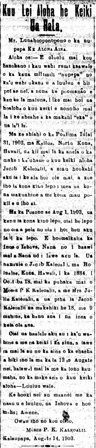 Kuu Lei Aloha he Keiki Ua Hala.