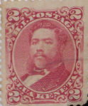 Rose-colored Kalakaua 2¢ stamp