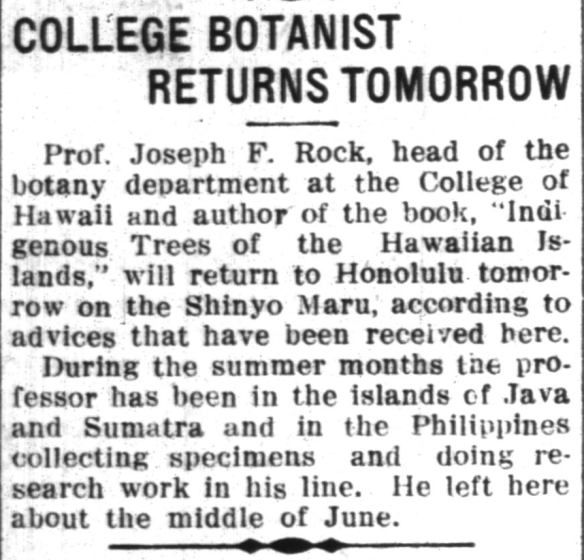 COLLEGE BOTANIST RETURNS TOMORROW