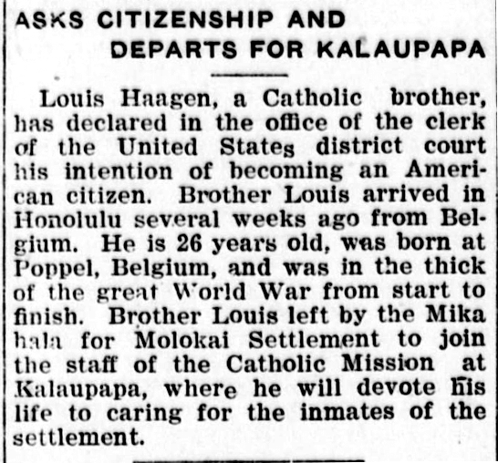 ASKS CITIZENSHIP AND DEPARTS FOR KALAUPAPA