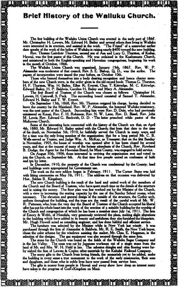 Brief History of the Wailuku Church.