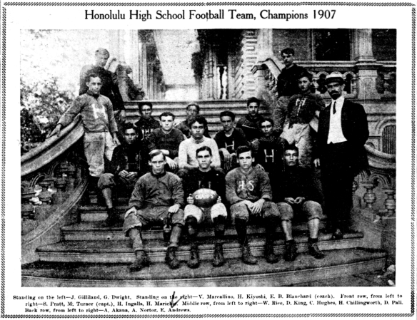 Honolulu High School Football Team, Champions 1907