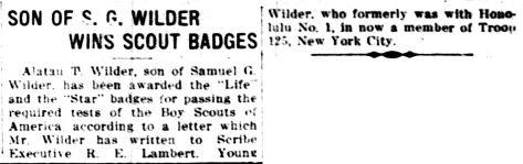 SON OF S. G. WILDER WINS SCOUT BADGES
