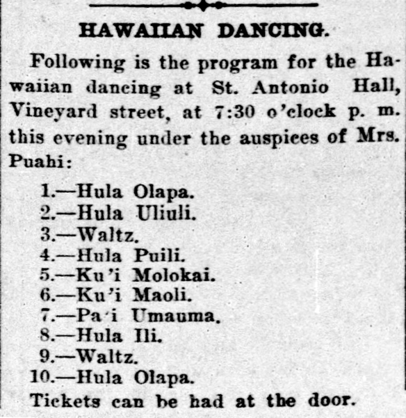 HAWAIIAN DANCING.