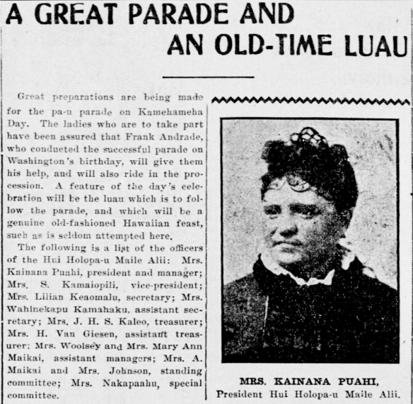 A GREAT PARADE AND AN OLD-TIME LUAU