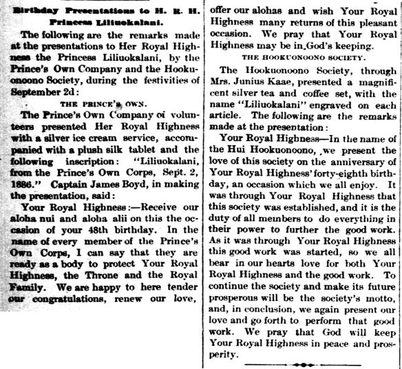 Birthday Presentations to H. R. H. Princess Liliuokalani.