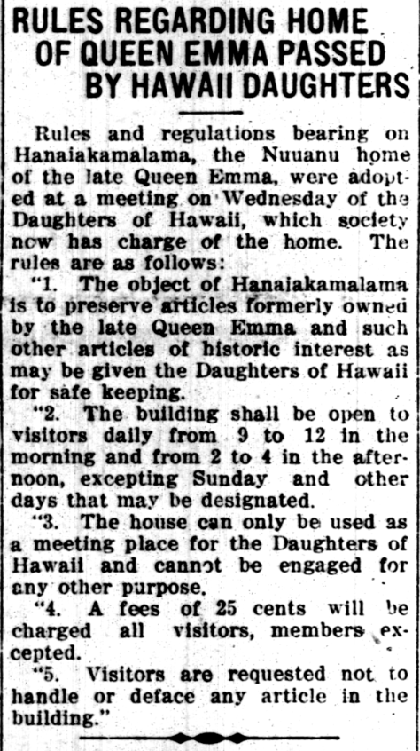 RULES REGARDING HOME OF QUEEN EMMA PASSED BY HAWAII DAUGHTERS