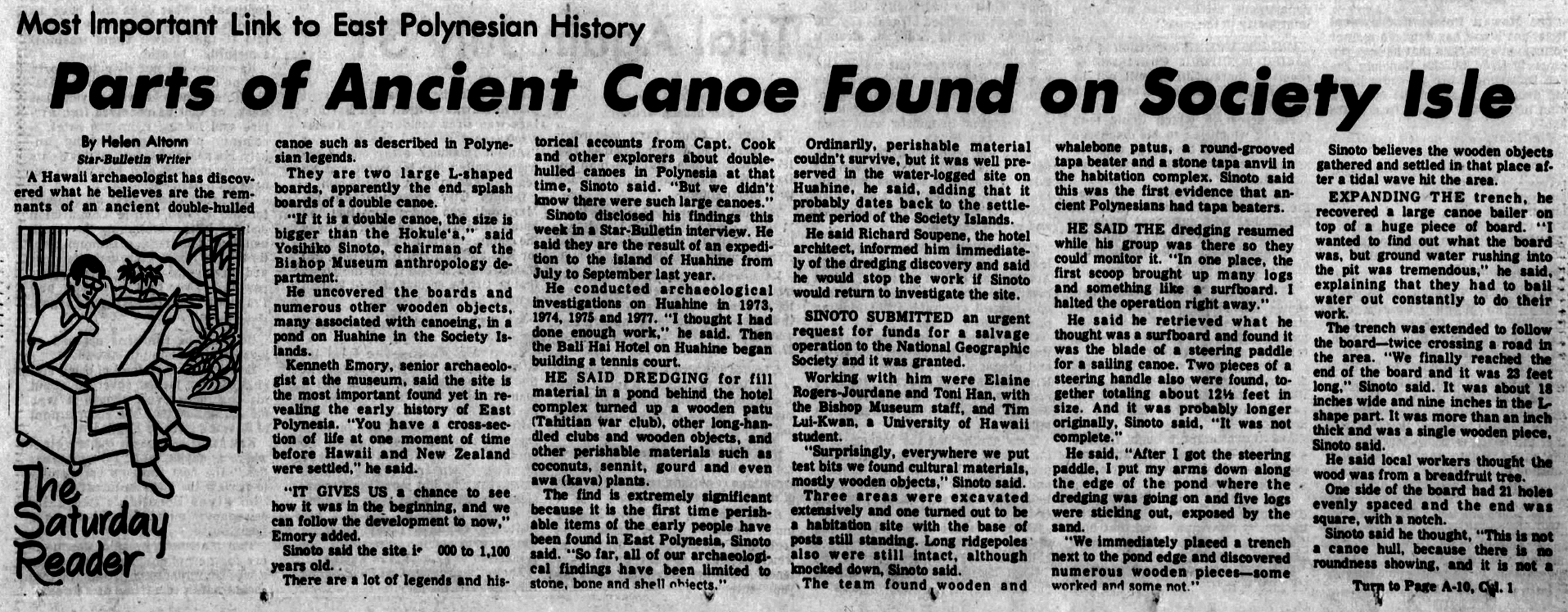 Dr  Yosihiko Sinoto finds parts of great canoe, 1978  | nupepa