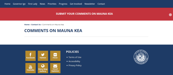 Submit your comments on Mauna Kea